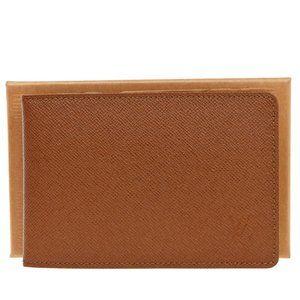Authentic LOUIS VUITTON LV Logo Pass Card Case Leather Brown